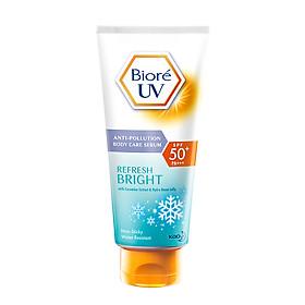 Serum Chống Nắng Dưỡng Thể Biore Kháng Bụi - Sáng Mịn Mát Lạnh 150ml là bước đột phá trong dòng sản phẩm chống nắng dưỡng da hằng ngày, tạo màng chắn bảo vệ da hiệu quả khỏi tác hại của tia UVA/UVB và bụi bẩn từ môi trường.