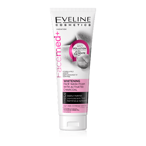 Sữa rửa mặt Eveline Facemed + trắng da với than hoạt tính - 100ml