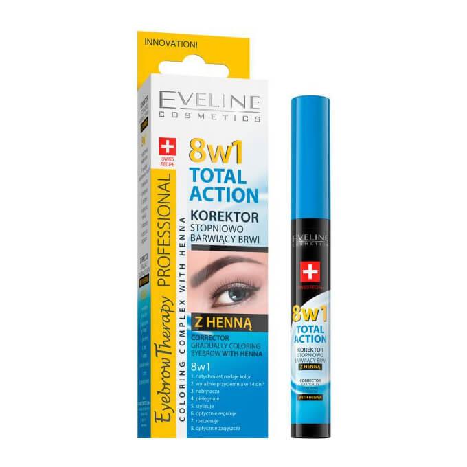 Dưỡng chân mày 8in1 Eveline Total Action với hiệu ứng tô màu và bột lá móng - 10 ml